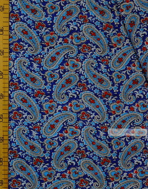 Fabric Folk Decorations by the yard ''Blue Paisley On Blue''}