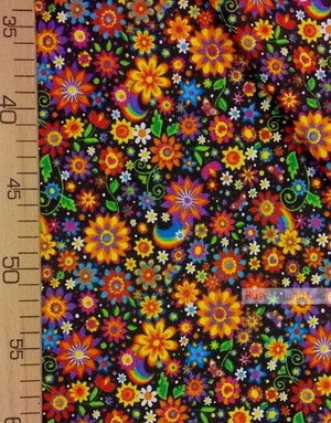 Cotton print fabric by the yard ''Bright Colors On Black''}