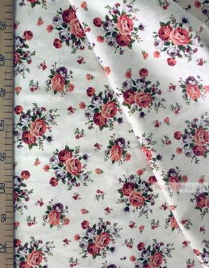 Tissu coton fleuri au metre ''Bouquet Of Flowers On Cream''}