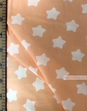 Childrens Fabric by the Yard ''White Star-Gingerbread On Peach''}