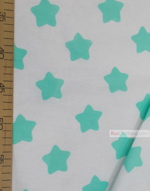 Nursery Print Fabric by the Yard ''Mint Star On White''}