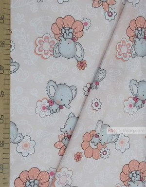 Tissu enfant au metre ''Elephants With Flowers''}