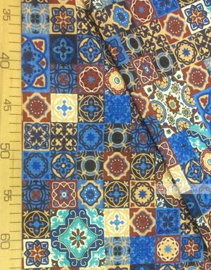 Fabric Folk Decorations by the yard ''Eastern Mosaic On The Blue-Burgundy''}