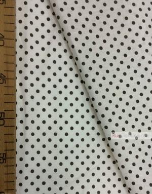 Tissu vintage au metre ''Small Black Polka Dots On White''}