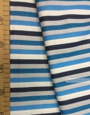 Tissu géométrique au metre ''Blue-Blue Strip''}