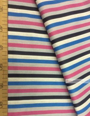 Tissu géométrique au metre ''Blue-Pink Strip''}