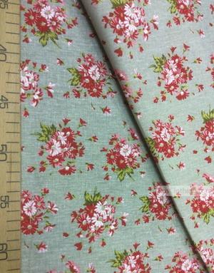 Tissu coton fleuri au metre ''Bouquet Of Red Daisies On Gray''}