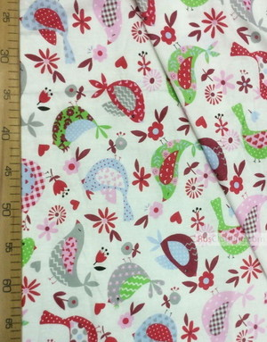 Kids Fabric by the Yard ''Patchwork Birds On White Pink / Vinous''}