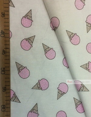 Baby fabric by the Yard ''Pink Ice Cream On White''}