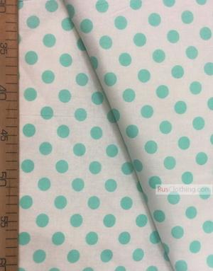 Fabric Ornaments by the yard ''Medium Mint Polka Dot On White''}