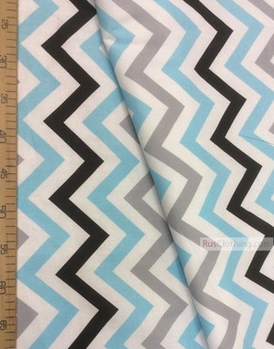 Baby fabric by the Yard ''Color Zigzag On White (Gray, Blue, Black)''}