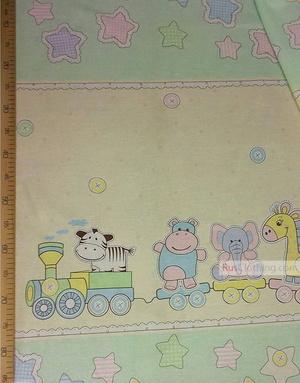 Childrens Fabric by the Yard ''Children's Train''}