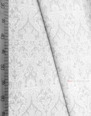 Vintage Fabric Ornament by the yard ''Baroque (White, Milk)''}