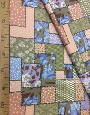 Tissu ethnique au metre ''Flowers On A Flap, Green, Terracotta''}