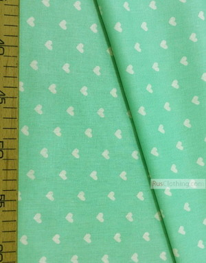 Baby Quilt Fabric by the Yard ''White Hearts On Mint''}