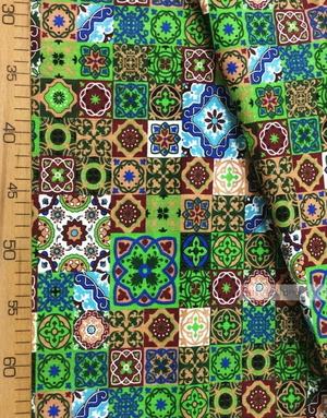 Fabric Folk Decorations by the yard ''Eastern Mosaic Of Burgundy-Green''}