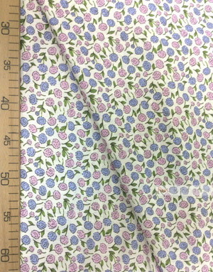 Childrens Fabric by the Yard ''Purple Flowers On White''}
