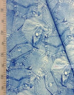 Tissu coton imprime au metre ''Blue Jeans''}