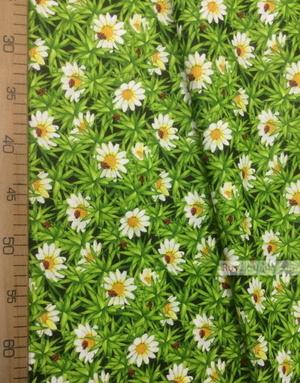 Tissu coton fleuri au metre ''White Daisies On A Green Field''}