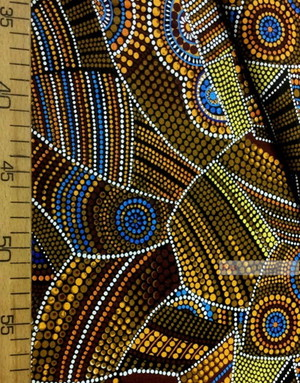 Folklore Fabric by the yard ''Color Mosaic On Black''}