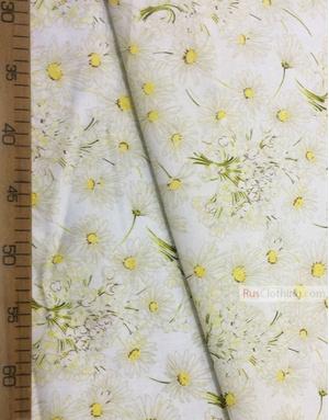 Tissu coton fleuri au metre ''White Daisies On A White Field''}