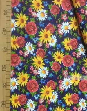 Tissu coton fleuri au metre ''Wildflowers On A Blue Field''}