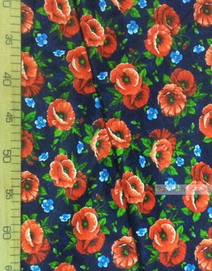 Tissu Russe Fleuri ''Scarlet Poppies On Blue Field''}