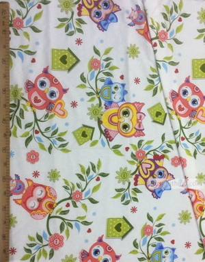 Tissu enfant au metre ''Colored Owls On Branches''}