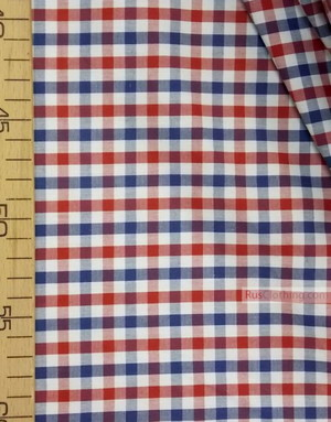 Geometric Print Fabric ''Red-Blue Plaid On White''}