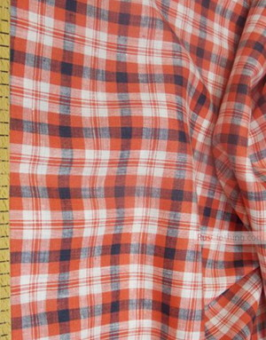 Tissu lin de Russie ''Plaid, red-black on white''