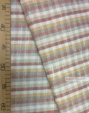 Linen fabric from Russia ''Plaid beige ''