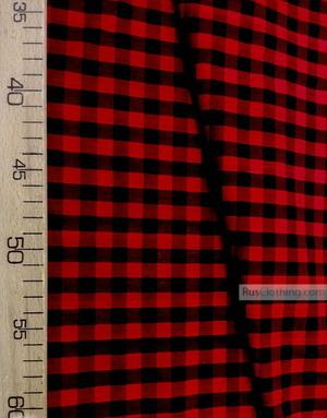 Tissu géométrique au metre''Red-Black Plaid''}