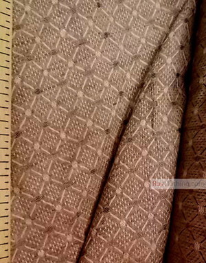 Linen Jacquard Fabric ''Brown Geometry ''
