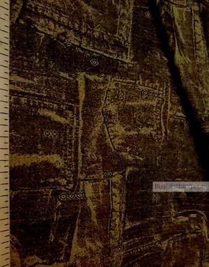 Linen Jacquard Fabric ''Mustard jeans ''