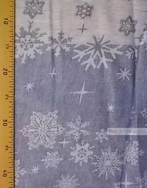 Tissu vintage folklorique au metre ''Blue Snowflakes''}