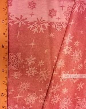 Tissu vintage folklorique au metre ''Red Snowflakes''}