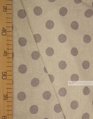 Tissu lin de Russie ''Dark gray polka dots on gray''