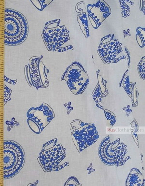 Tissu lin de Russie ''Blue Tea Set''