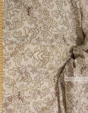 Tissu lin de Russie ''Brown patterns on gray''