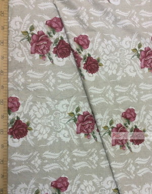 Linen fabric from Russia ''Dark Red Roses On gray ''