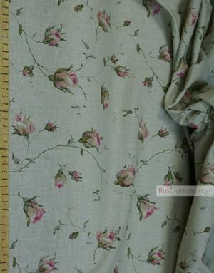 Tissu lin fleuri ''Pink Roses On gray ''