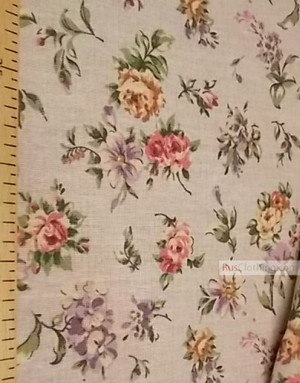 Floral Linenby the yard ''Pastel flowers on gray ''