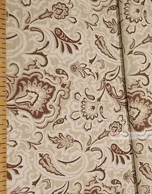 Tissu lin imprimé ''Eastern Pattern, Brown''