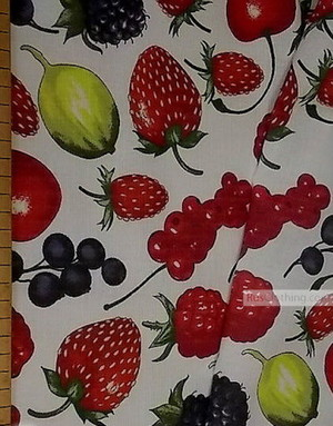 Linen fabric from Russia ''Ripe berries on white ''
