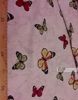 Linen fabric from Russia ''Butterflies on gray flowers ''