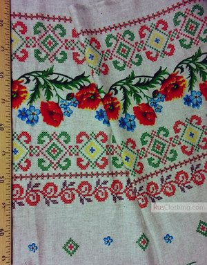 Floral Linen by the yard ''Poppies and cornflowers with embroidered ornament ''