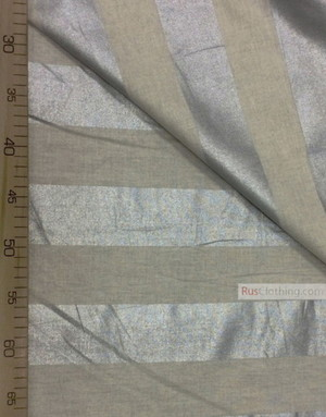 Linen fabric from Russia ''Silver stripe on light gray ''
