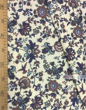 Tissu lin fleuri ''Paradise Flowers, Blue On gray''