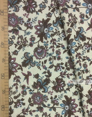 Linen fabric from Russia ''Paradise Flowers, Brown On gray ''