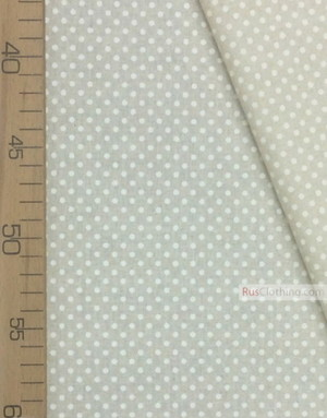 Linen fabric from Russia ''Small white polka dots on gray ''